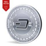 dash Crypto devise pièce de monnaie 3D physique isométrique Devise de Digital Pièce en argent avec le symbole de tiret sur le bla Image stock