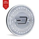 dash Crypto devise pièce de monnaie 3D physique isométrique Devise de Digital Pièce en argent avec le symbole de tiret sur le fon Photo libre de droits