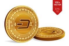dash Crypto devise pièces de monnaie 3D physiques isométriques Devise de Digital Pièces de monnaie d'or avec le symbole de tiret  Photo stock