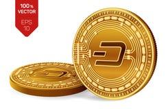 dash Crypto devise pièces de monnaie 3D physiques isométriques Devise de Digital Pièces de monnaie d'or avec le symbole de tiret  Images libres de droits