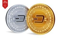 dash Crypto devise pièces de monnaie 3D physiques isométriques Devise de Digital Pièces d'or et en argent avec le symbole de tire Photo libre de droits