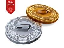 dash Crypto devise pièces de monnaie 3D physiques isométriques Devise de Digital Pièces d'or et en argent avec le symbole de tire Photos stock
