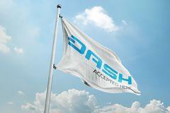 DASH crypto network. Dash is an open source cryptocurrency and is a form of decentralized autonomous organization run by a subset of users, called `masternodes stock images