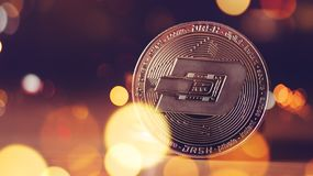 Dash cryptocurrency coin. Dash cryptocurrency, blockchain technology decentralized currency coin, conceptual image with selective focus royalty free stock images