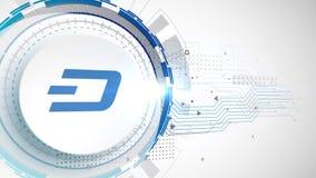 Dash cryptocurrency icon animation white digital elements technology background stock illustration