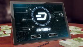 Dash cryptocurrency logo on the pc tablet, 3D illustration royalty free illustration