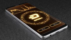 Dash cryptocurrency symbol on mobile app screen. 3D illustration. Dash cryptocurrency symbol on mobile app screen. Price graph, buy and sell buttons. 3D royalty free stock images