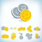 dash 2D pièce de monnaie de bande dessinée Devise de Digital Cryptocurrency Pièces de monnaie d'or avec le symbole d'isolement su Image stock