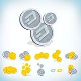 dash 2D pièce de monnaie de bande dessinée Devise de Digital Cryptocurrency Pièces de monnaie d'or avec le symbole d'isolement su Photos stock
