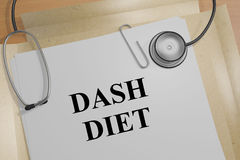 Dash Diet - medical concept. 3D illustration of `DASH DIET` title on a medical document Stock Photos