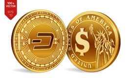 Dash. Dollar coin. 3D isometric Physical coins. Digital currency. Cryptocurrency. Golden coins with Dash and Dollar symbol isolate. Dash. Dollar coin. 3D Stock Photos