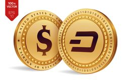 Dash. Dollar coin. 3D isometric Physical coins. Digital currency. Cryptocurrency. Golden coins with Dash and Dollar symbol isolate. D on white background. Vector Royalty Free Stock Image
