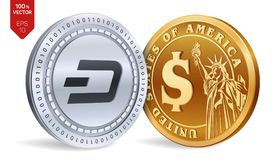 Dash. Dollar coin. 3D isometric Physical coins. Digital currency. Cryptocurrency. Golden and silver coins with Dash and. Dollar symbol isolated on white Stock Photography
