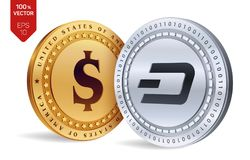 Dash. Dollar coin. 3D isometric Physical coins. Digital currency. Cryptocurrency. Golden and silver coins with Dash and Dollar sym. Bol isolated on white Royalty Free Stock Images