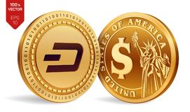 Dash. Dollar coin. 3D isometric Physical coins. Digital currency. Cryptocurrency. Golden coins with Dash and Dollar symbol isolate. D on white background. Vector Stock Photography