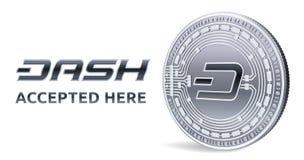dash Emblème admis de signe Crypto devise Pièce en argent avec le symbole de tiret d'isolement sur le fond blanc pièce de monnaie Photo stock