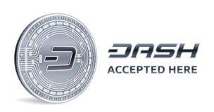 dash Emblème admis de signe Crypto devise Pièce en argent avec le symbole de tiret d'isolement sur le fond blanc pièce de monnaie Photos stock