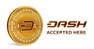 dash Emblème admis de signe Crypto devise Pièce de monnaie d'or avec le symbole de tiret d'isolement sur le fond blanc 3D isométr Image stock