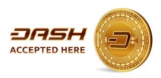 dash Emblème admis de signe Crypto devise Pièce de monnaie d'or avec le symbole de tiret d'isolement sur le fond blanc pièce de m Image libre de droits