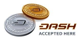 dash Emblème admis de signe Crypto devise Pièces d'or et en argent avec le symbole de tiret d'isolement sur le fond blanc 3d Photos libres de droits