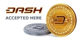 dash Emblème admis de signe Crypto devise Pièces d'or et en argent avec le symbole de tiret d'isolement sur le fond blanc 3D P is Images stock