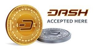 dash Emblème admis de signe Crypto devise Pièces d'or et en argent avec le symbole de tiret sur le fond blanc 3D P isométrique Images stock