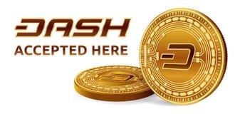 dash Emblème admis de signe Crypto devise Pièces de monnaie d'or avec le symbole de tiret d'isolement sur le fond blanc coi 3D ph Photographie stock libre de droits