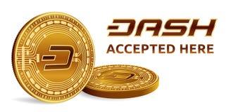 dash Emblème admis de signe Crypto devise Pièces de monnaie d'or avec le symbole de tiret d'isolement sur le fond blanc 3D isomét Photos stock