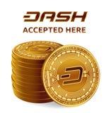 dash Emblème admis de signe Crypto devise Pile de pièces de monnaie d'or avec le symbole de tiret d'isolement sur le fond blanc 3 Photographie stock libre de droits