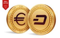 dash Euro pièce de monnaie pièces de monnaie 3D physiques isométriques Devise de Digital Cryptocurrency Pièces de monnaie d'or av Images stock