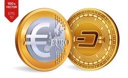 dash Euro pièce de monnaie pièces de monnaie 3D physiques isométriques Devise de Digital Cryptocurrency Pièces de monnaie d'or av Illustration Stock