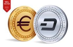dash Euro pièce de monnaie pièces de monnaie 3D physiques isométriques Devise de Digital Cryptocurrency Pièces d'or et en argent  Image libre de droits