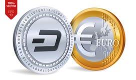 dash Euro pièce de monnaie pièces de monnaie 3D physiques isométriques Devise de Digital Cryptocurrency Pièces d'or et en argent  Photo stock