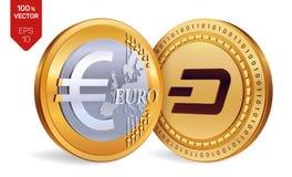 dash Euro pièces de monnaie 3D physiques isométriques Devise de Digital Cryptocurrency Pièces de monnaie d'or avec le symbole de  Photo stock