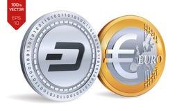 dash Euro pièces de monnaie 3D physiques isométriques Devise de Digital Cryptocurrency Pièces d'or et en argent avec l'isola de s Image libre de droits