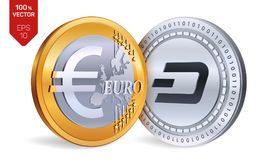 dash Euro pièces de monnaie 3D physiques isométriques Devise de Digital Cryptocurrency Pièces d'or et en argent avec l'isola de s Photographie stock