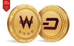 dash gagné pièces de monnaie 3D physiques isométriques Devise de Digital La Corée a gagné la pièce de monnaie avec le texte à la  illustration libre de droits