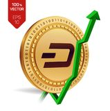 Dash. Growth. Green arrow up. Dash index rating go up on exchange market. Crypto currency. 3D isometric Physical Golden coin isola. Ted on white background Royalty Free Stock Photography