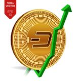 Dash. Growth. Green arrow up. Dash index rating go up on exchange market. Crypto currency. 3D isometric Physical Golden coin isola. Ted on white background Royalty Free Stock Images