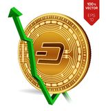 Dash. Growth. Green arrow up. Dash index rating go up on exchange market. Crypto currency. 3D isometric Physical Golden. Coin isolated on white background Stock Image