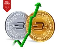 Dash. Growth. Green arrow up. Dash index rating go up on exchange market. Crypto currency. 3D isometric Physical Golden. And silver coins isolated on white Royalty Free Stock Photo