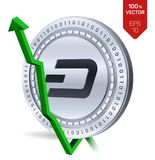 Dash. Growth. Green arrow up. Dash index rating go up on exchange market. Crypto currency. 3D isometric Physical Silver coin isola. Ted on white background Royalty Free Stock Image