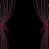 Dash line curtains. Pink and white on black background. Royalty Free Stock Photos