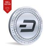 dash pièce de monnaie 3D physique isométrique Devise de Digital Cryptocurrency Pièce de monnaie argentée de tiret Illustration de Photos stock