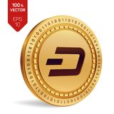 dash pièce de monnaie 3D physique isométrique Devise de Digital Cryptocurrency Pièce de monnaie d'or avec le symbole de tiret Ill Photo libre de droits