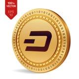 dash pièce de monnaie 3D physique isométrique Devise de Digital Cryptocurrency Pièce de monnaie d'or avec le symbole de tiret d'i Photo stock