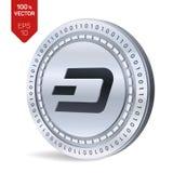 dash pièce de monnaie 3D physique isométrique Devise de Digital Cryptocurrency Pièce en argent avec le symbole de tiret d'isoleme Image stock