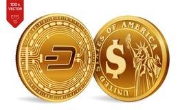 dash Pièce de monnaie du dollar pièces de monnaie 3D physiques isométriques Devise de Digital Cryptocurrency Pièces de monnaie d' Photos stock