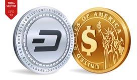 dash Pièce de monnaie du dollar pièces de monnaie 3D physiques isométriques Devise de Digital Cryptocurrency Pièces d'or et en ar Photographie stock