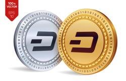 dash pièces de monnaie 3D physiques isométriques Devise de Digital Cryptocurrency Pièces d'or et en argent avec le symbole de tir Images libres de droits